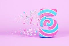Broken shattered alphabet number 5. Crushed christmas font made of pink and blue striped lollipop. 3D render. stock illustration