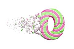 Broken shattered alphabet number 0. Crushed font made of pink and green striped lollipop. 3D render isolated on white background. Tasty confection from vector illustration