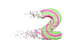 Broken shattered alphabet number 2. Crushed font made of pink and green striped lollipop. 3D render isolated on white background. Tasty confection from vector illustration