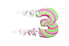 Broken shattered alphabet number 3. Crushed font made of pink and green striped lollipop. 3D render isolated on white background. Tasty confection from stock illustration
