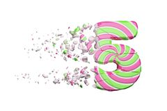 Broken shattered alphabet number 5. Crushed font made of pink and green striped lollipop. 3D render isolated on white background. Tasty confection from vector illustration