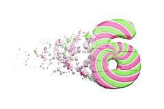 Broken shattered alphabet number 6. Crushed font made of pink and green striped lollipop. 3D render isolated on white background. Tasty confection from royalty free illustration