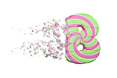Broken shattered alphabet number 8. Crushed font made of pink and green striped lollipop. 3D render isolated on white background. Tasty confection from royalty free illustration