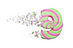 Broken shattered alphabet number 9. Crushed font made of pink and green striped lollipop. 3D render isolated on white background. Tasty confection from royalty free illustration
