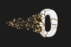 Broken shattered alphabet number 0. Crushed white and gold font. 3D render isolated on grey background. Typographic symbol from cracked debris Royalty Free Illustration