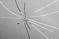 Broken and Shattered Glass Pane Royalty Free Stock Photo