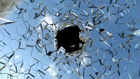 Broken shattered glass pieces isolated. Over black royalty free stock photography