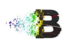 Broken shattered iridescent alphabet letter B uppercase. Crushed black and rainbow font. 3D render isolated on white background. Typographic symbol from stock illustration