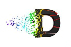 Broken shattered iridescent alphabet letter D uppercase. Crushed black and rainbow font. 3D render isolated on white background. Typographic symbol from vector illustration