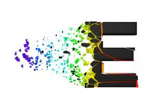 Broken shattered iridescent alphabet letter E uppercase. Crushed black and rainbow font. 3D render isolated on white background. Typographic symbol from vector illustration