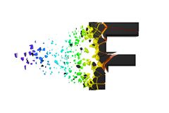 Broken shattered iridescent alphabet letter F uppercase. Crushed black and rainbow font. 3D render isolated on white background. Typographic symbol from stock illustration