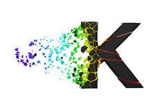 Broken shattered iridescent alphabet letter K uppercase. Crushed black and rainbow font. 3D render isolated on white background. Typographic symbol from stock illustration