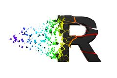 Broken shattered iridescent alphabet letter R uppercase. Crushed black and rainbow font. 3D render isolated on white background. Typographic symbol from vector illustration