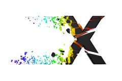 Broken shattered iridescent alphabet letter X uppercase. Crushed black and rainbow font. 3D render isolated on white background. Typographic symbol from stock illustration