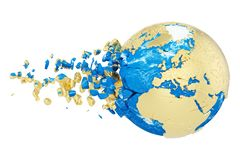 Broken shattered planet earth globe isolated on white background. Gold metallic world with particles and debris. vector illustration