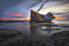 Broken Ship by the sea. At chonburi royalty free stock photo