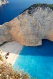 Broken ship at Shipwrech bay . Navagio beach Royalty Free Stock Photo