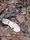 Broken shoes in a dump site at the ghost town of Ironton, Colorado Stock Photo