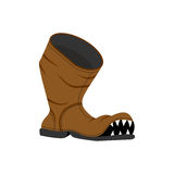 Broken shoes. Monster Old boots with teeth. Hole in boot. Royalty Free Stock Photo