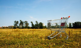 Broken shopping cart in the nature Royalty Free Stock Image