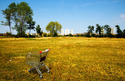 Broken shopping cart in the nature Stock Photography