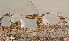 Free Broken Sidewalk Concrete In Autumn Stock Photography - 130221922