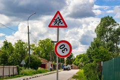 Broken sign of speed limit royalty free stock photo