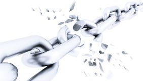 Broken silver chain isolated. Broken shuttered silver chain isolated stock illustration