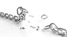 Broken silver chain Royalty Free Stock Images