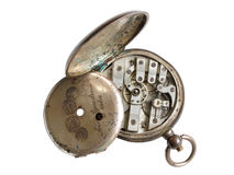Broken silver watch. Broken pocket watch from silver with the moved end cover Royalty Free Stock Image