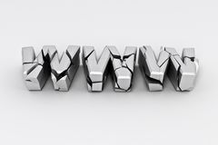 Broken silver www  sign Stock Photo