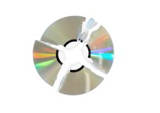 Broken single DVD(CD) disc. Isolated. Stock Photo