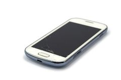 Broken smart phone isolated on white. Background stock image
