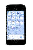 Broken Smart Phone. Shattered and broken glass on a cellphone royalty free stock photos