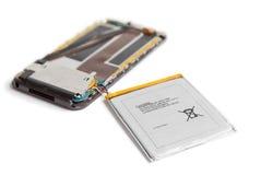 Broken smartphone battery Stock Photos