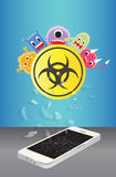 Broken smartphone device infected virus Royalty Free Stock Photos