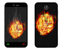 Broken smartphone explosion with burning fire Stock Image