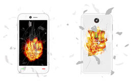 Broken smartphone explosion with burning fire Stock Photo