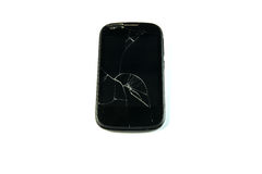 Broken smartphone. Front screen broken, on white background stock photos