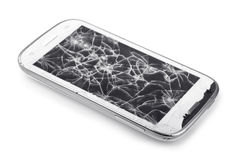 Broken smartphone. Smartphone with broken screen isolated on white royalty free stock photography