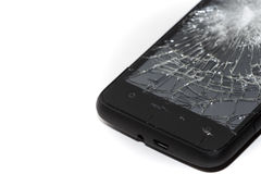 Broken Smartphone. Modern Smartphone with shattered screen, isloated on white with copyspace Royalty Free Stock Image