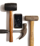 Broken smartphone. Still life of cracked smartphone and hammers Stock Photo