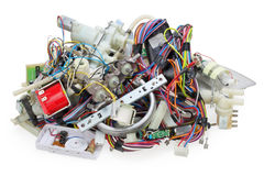 Broken spare parts from electric devices Royalty Free Stock Photo
