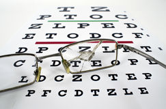 Broken Spectacles On Opticians Snellen Eye Test Chart Royalty Free Stock Photography