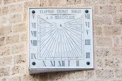 Broken squared stone sun dial royalty free stock photography