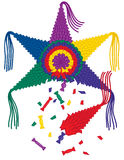 Broken Star Pinata with Candy. A colorful broken 6 point star pinata with candy falling out Stock Photo