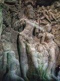 Broken Statues of Hindu Gods. Broken Statues of Hindu Gods Inside The Elephanta Cave Near Mumbai stock photography
