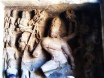 Broken Statues of Hindu Gods. Broken Statues of Hindu Gods Inside The Elephanta Cave Near Mumbai royalty free stock images