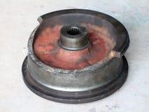 Broken steel wheel of gantry crane Royalty Free Stock Photography