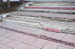 Broken Steps Outdoor. Damaged Stair Case. royalty free stock photo